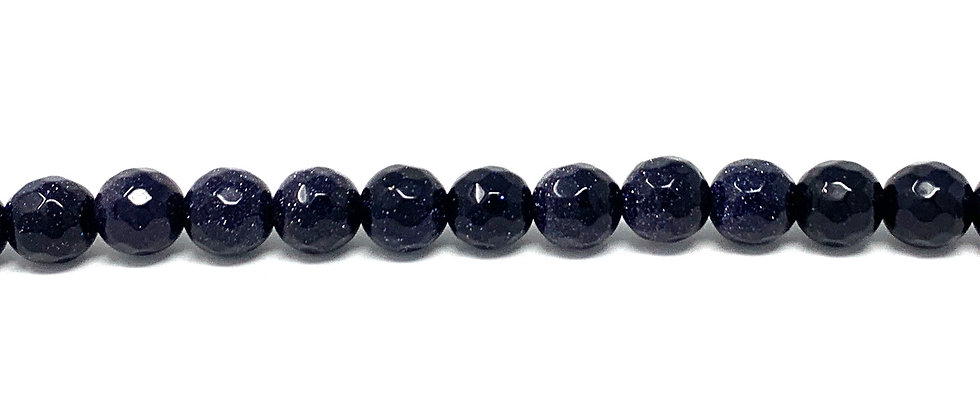 6 mm Faceted Round Blue Goldstone Beads (Price is per Unit of 5 Strand)
