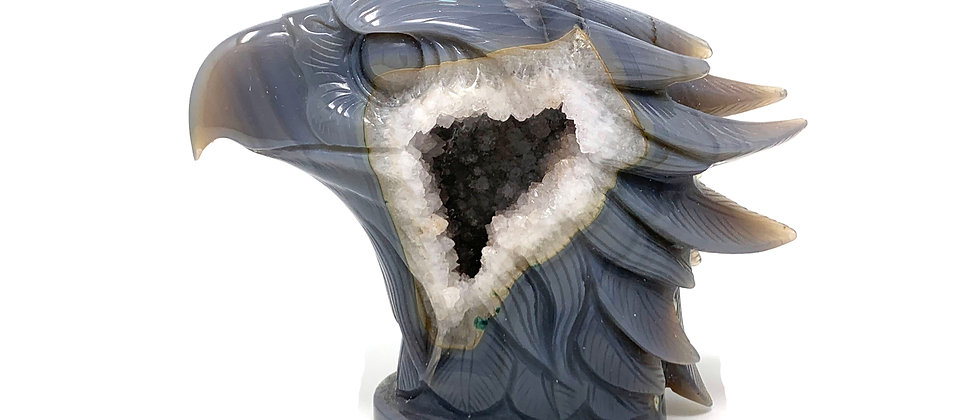 Natural Agate Eagle Head with Druzy