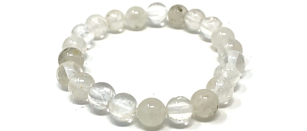 7.5 mm Round Rock Crystal(A) Stretch Bracelet  (Price is Per 10 Pieces Bag)