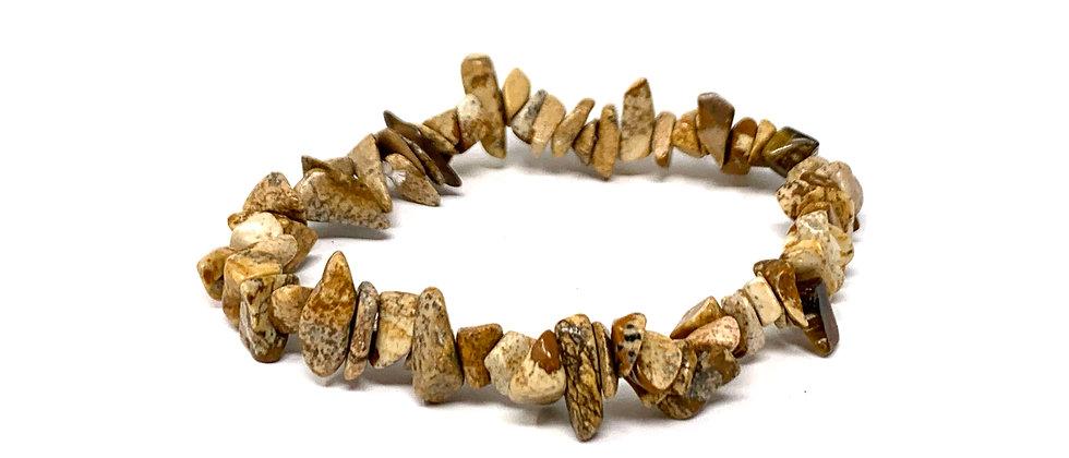 Picture Jasper Single Chips Elastic Bracelet  (Price is Per 10 Pieces Bag)