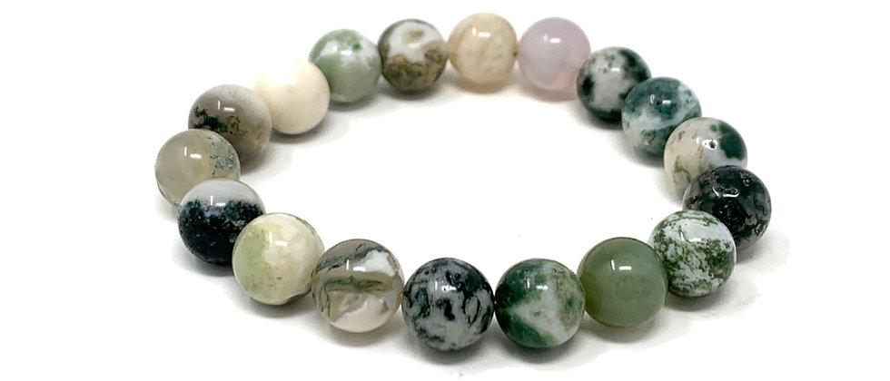 10 mm Round India Tree Agate Stretch Bracelet  (Price is Per 10 Pieces Bag)