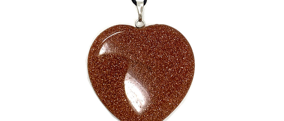 35 mm Brown Goldstone Adjustable Cord Heart Pendant (Price per 10 Pieces Bag)