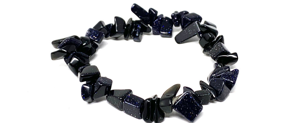 Blue Goldstone Single Chips Elastic Bracelet  (Price is Per 10 Pieces Bag)