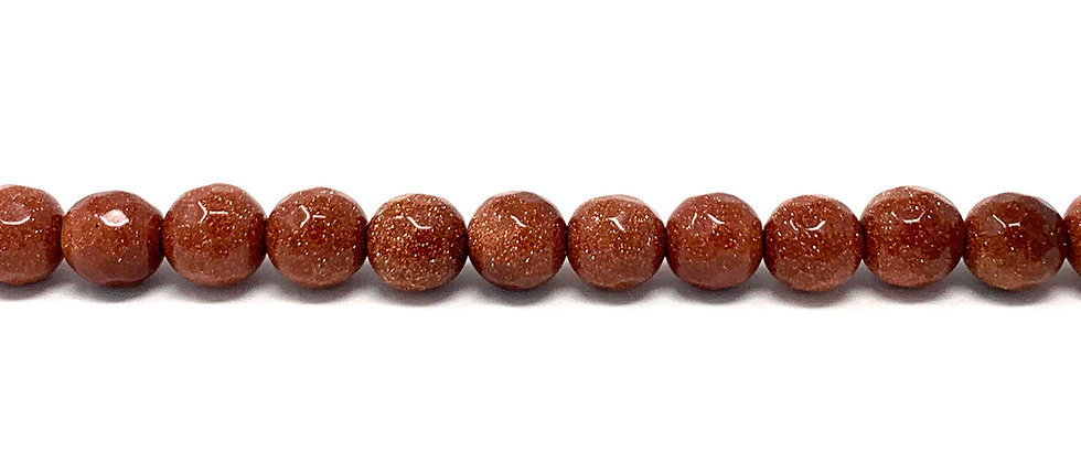 6 mm Faceted Round Brown Goldstone Beads (Price is per Unit of 5 Strand)