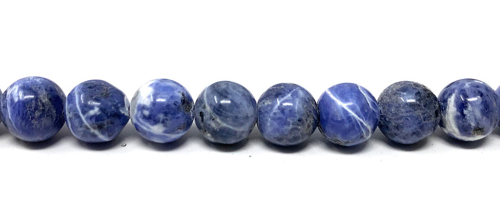 "8 mm Sodalite Round Beads 15.5""-16"" (Price per Unit of 5 Strands)"