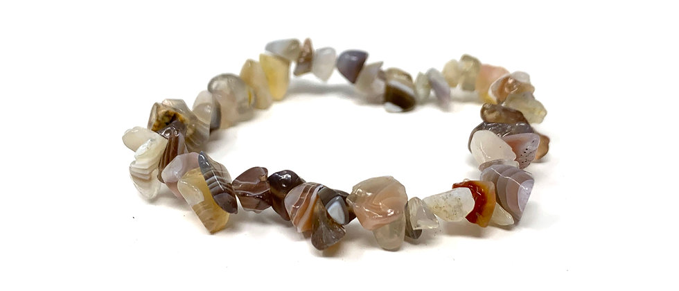 Botswana Agate Single Chips Elastic Bracelet  (Price is Per 10 Pieces Bag)