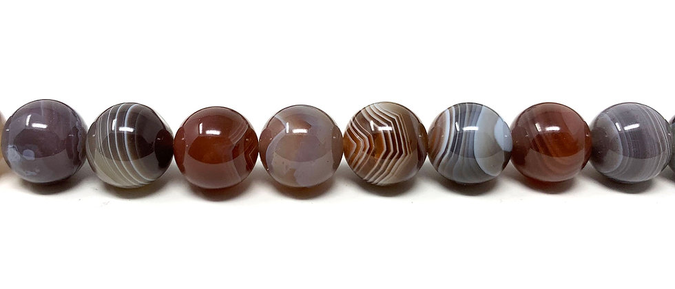 "10 mm Botswana Agate Round Beads 15.5""-16"" (Price per Unit of 1 Strands)"
