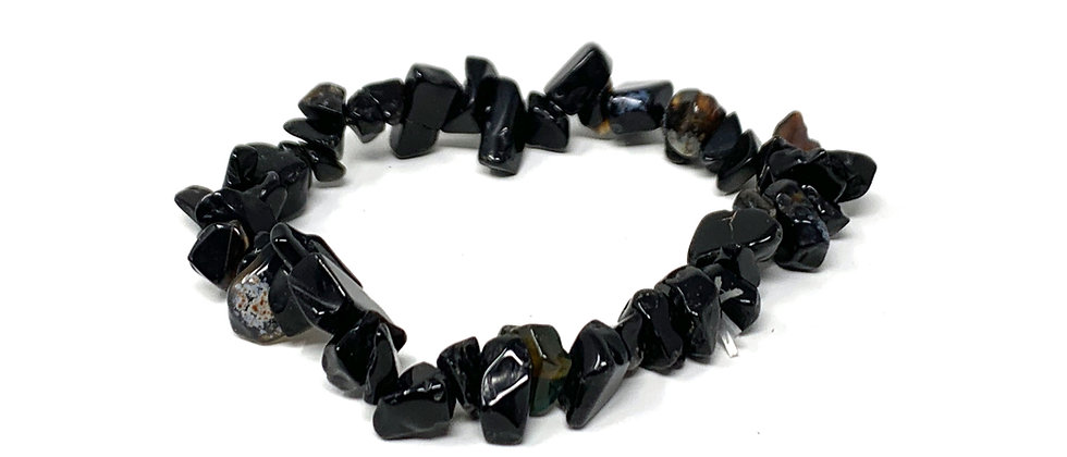 Black Agate Single Chips Elastic Bracelet  (Price is Per 10 Pieces Bag)