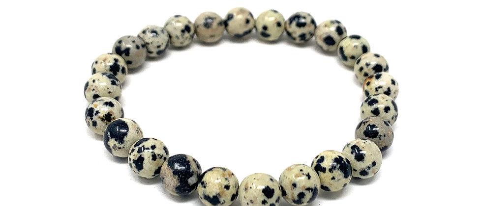 8 MM Dalmation Jasper Round Beads Bracelets (Price Per 10 Pieces Bag)