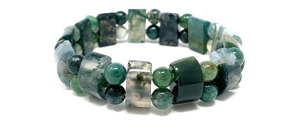 Moss Agate Tanker Bracelets (Price Per 10 Pieces Bag)