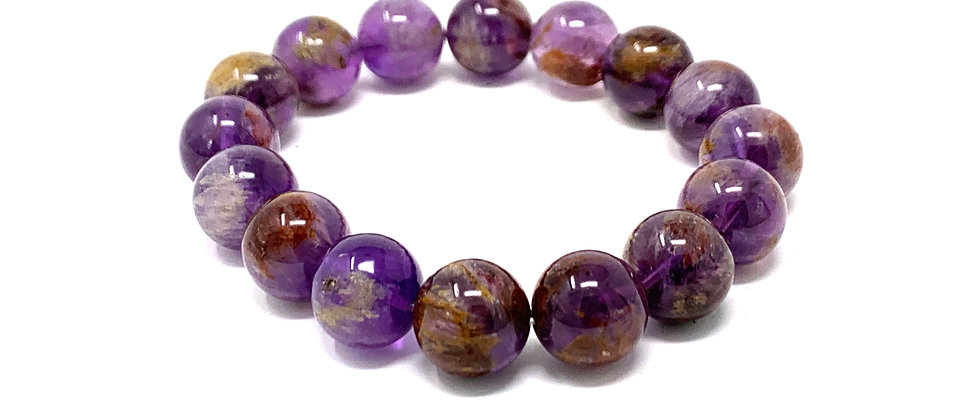 12 mm Round Super 7 Phantom Amethyst Bracelets  (Price is Per 10 Pieces Bag)