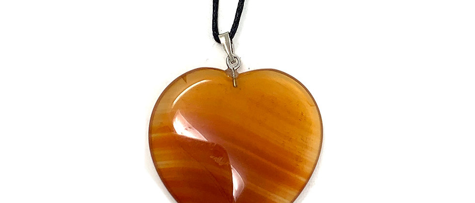 25 mm Carnelian Agate Adjustable Cord Heart Pendant (Price per 18 Pieces Tray)