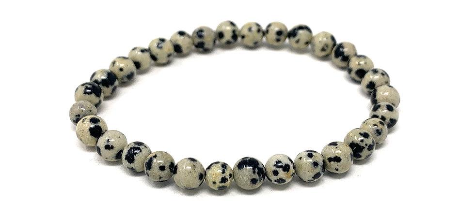 6 MM Dalmation Jasper Round Beads Bracelets (Price Per 10 Pieces Bag)