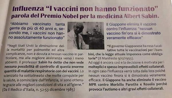 Sabin- i vaccini per l'influenza non han