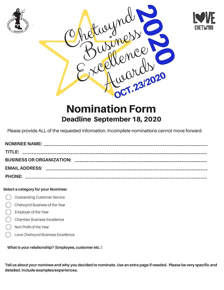 Business Excellence Nomination Form 2020