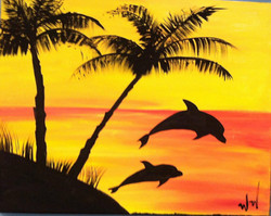 #20 Dolphins Palms Sunset
