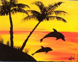 #20 Dolphins Palms Sunset