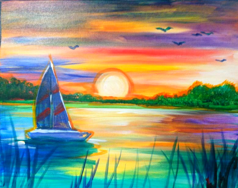 #57-Sailboat Rainbow Colors Sunset