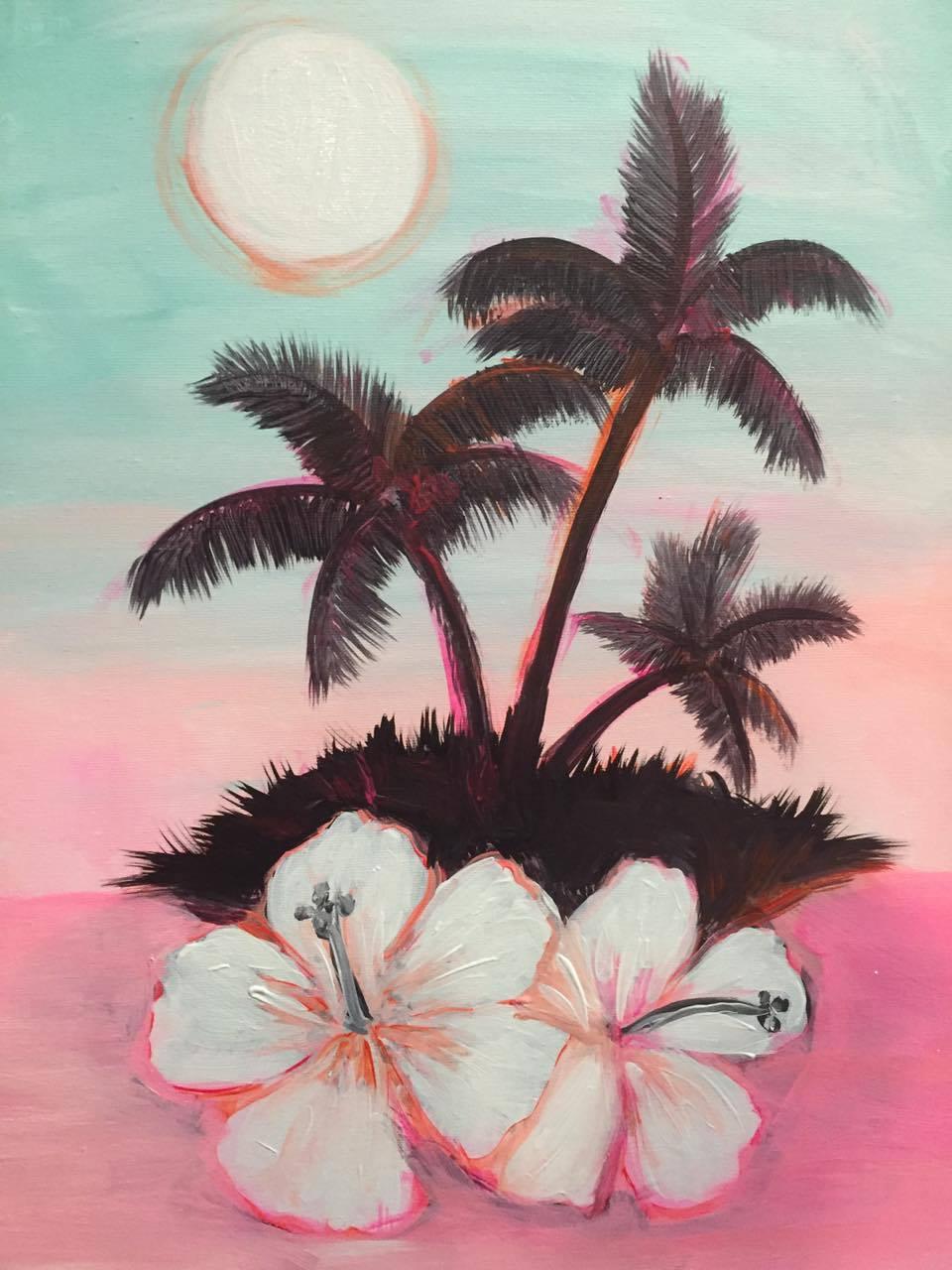 C-40 Island Hibiscus Palms Pastels