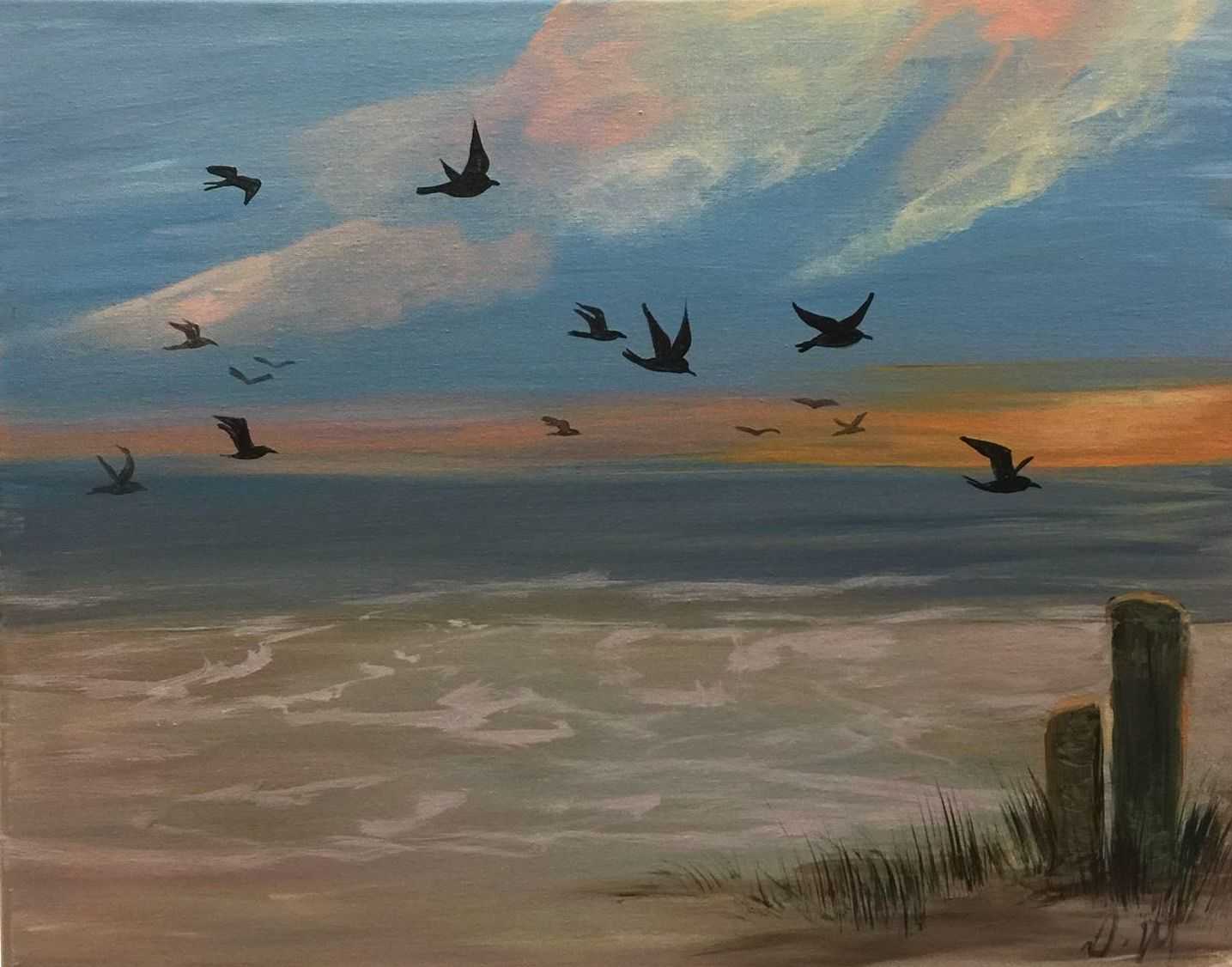 E-38 Beach and Sea Gulls