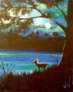 C-42 Deer, lake  and moon