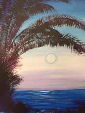 G5-Palm tree black, blue ocean soft moon