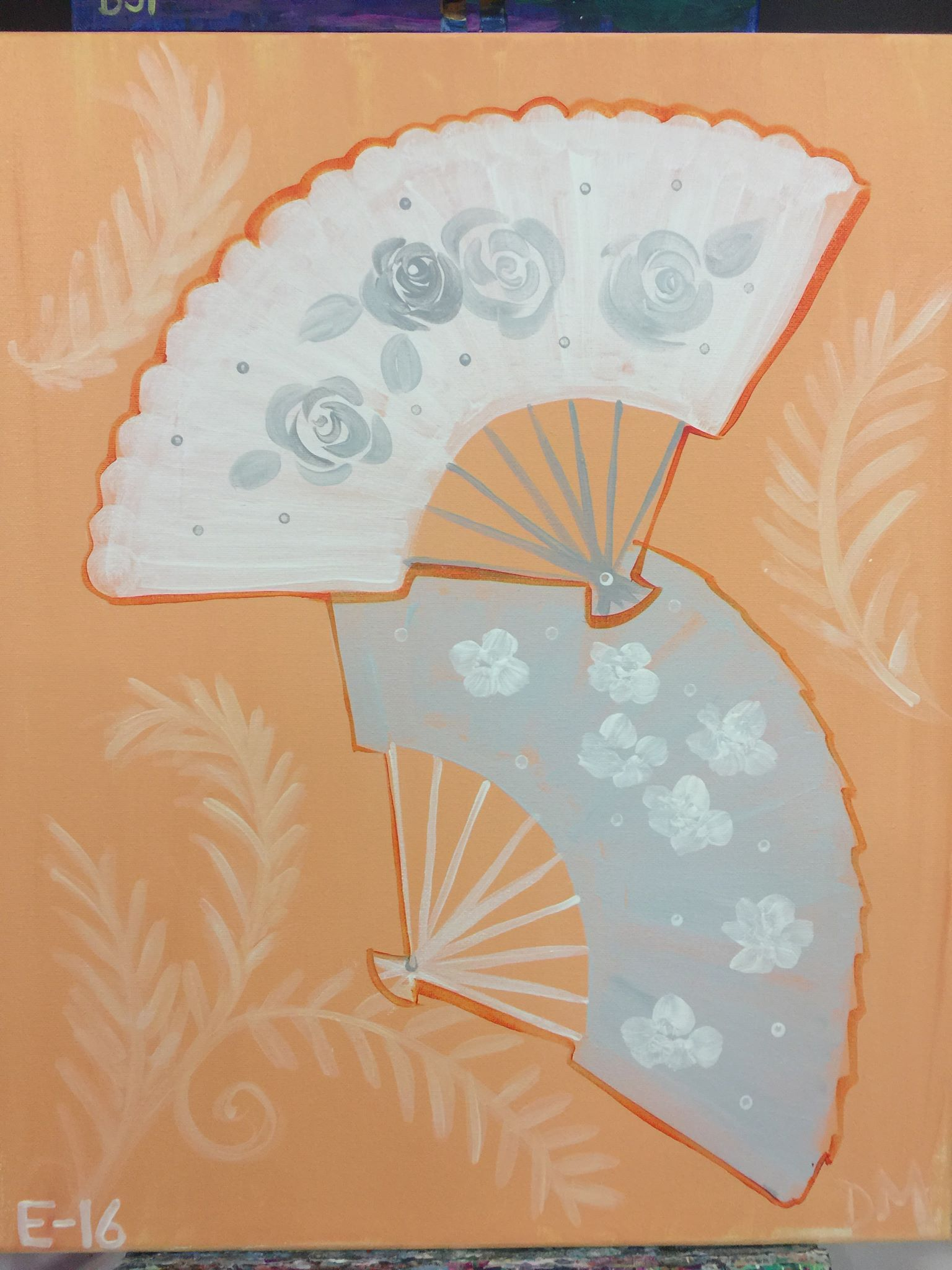 E-16 Hand Fans peach and Grey