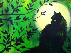 #B19- Black Cat, Moon green Sky