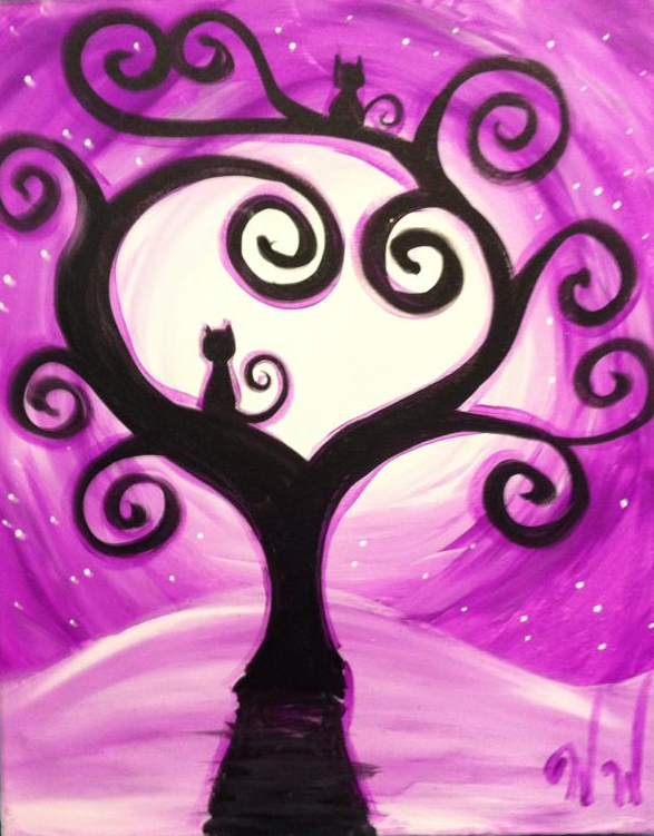 #47 Cats on tree purple