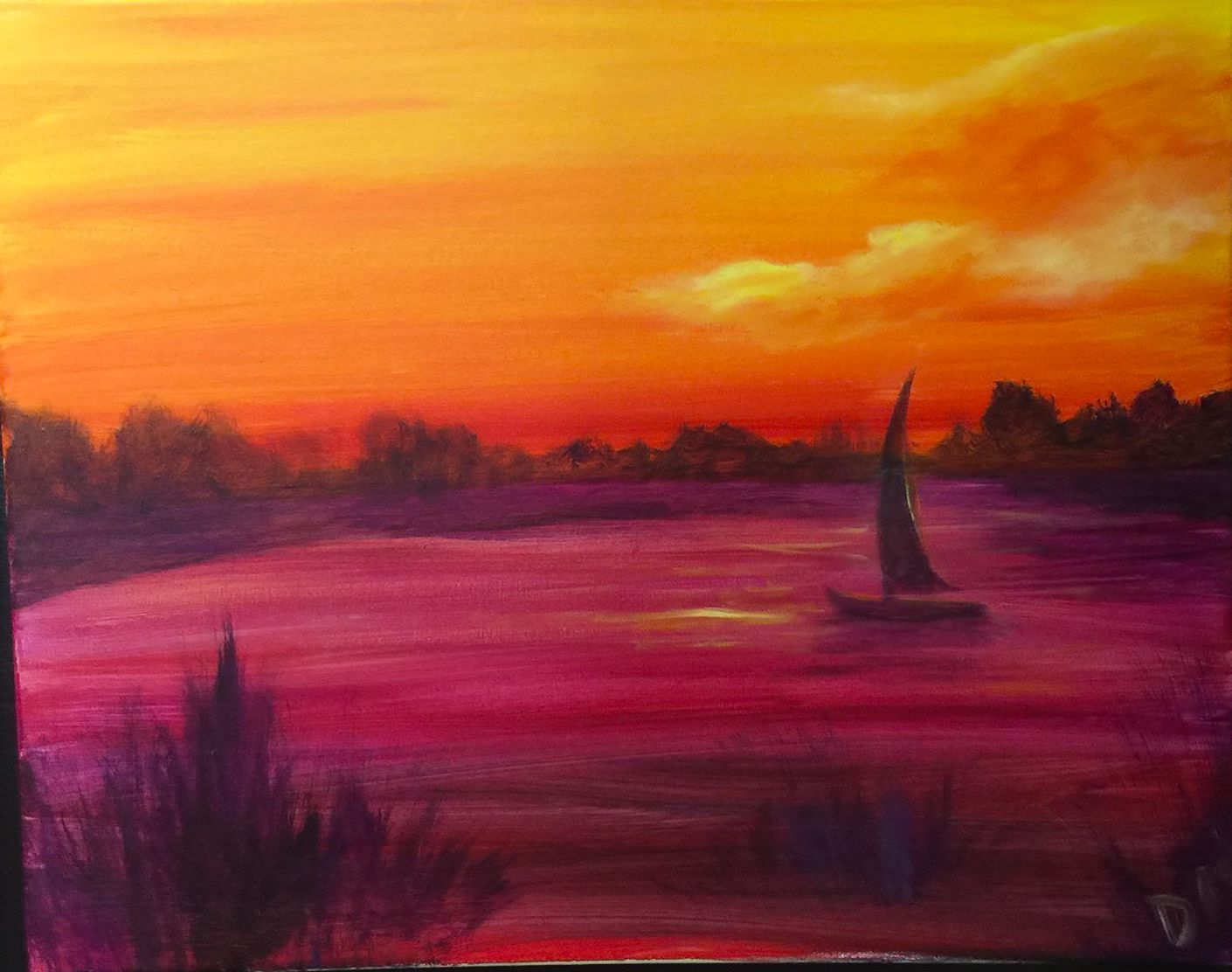 E-10 Sailboat lake orange magenta