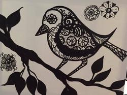#B05-Bird black and White