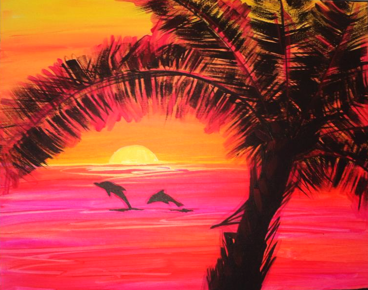 #48 Sunset, palm, dolphins