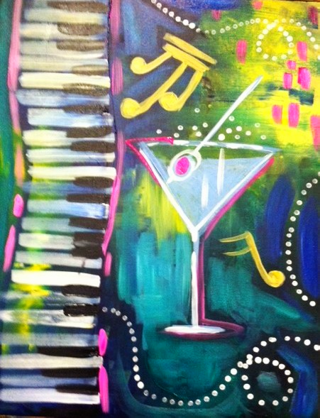 #B57- Martini Glass and Piano Keys