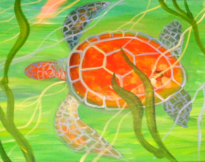 #B10- Ornage Turtle Swimming