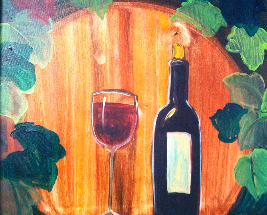 #B33- Red Wine Bottle and glass