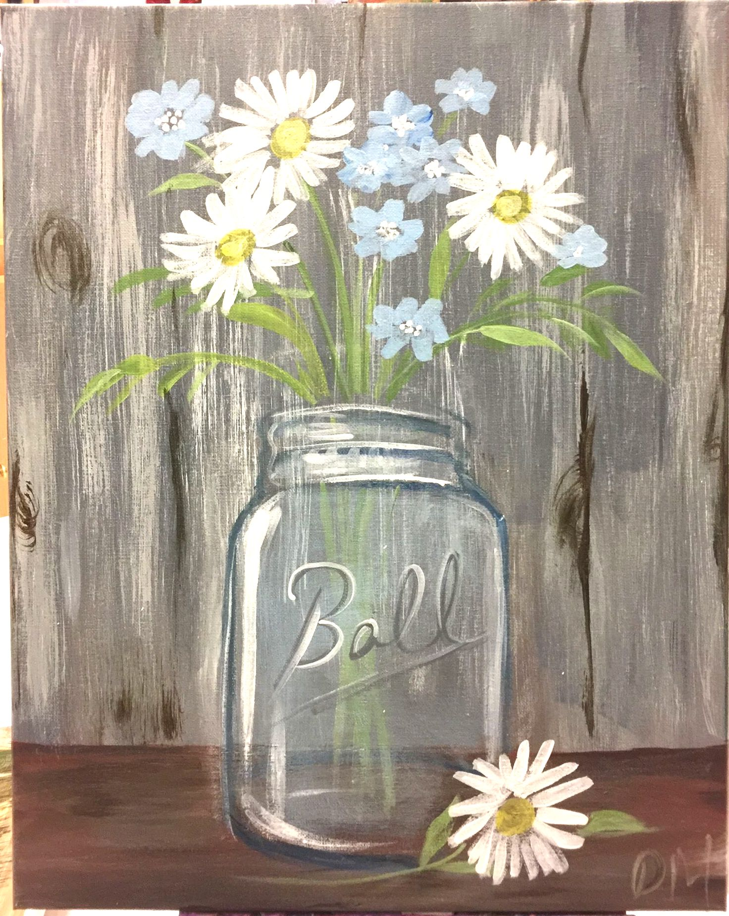 E-41 Mason Jar and Flowers