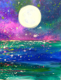 #B18- Colorful Impressionist Moon