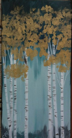 C-14 Trees in gray, teal, gold.