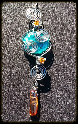 Wire Wrapped Aqua Glass w/ Orange Quartz