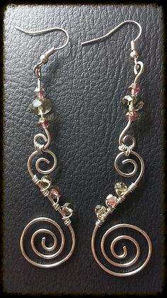 Wire Swirl Earrings w/ Swarovski - Purple & Smoke