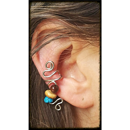 Turquoise, Nut, & Wood Bead Ear Cuff
