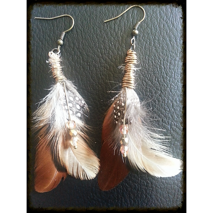 Earthy Brown Toned Feather Earrings w/ Bronze Wire