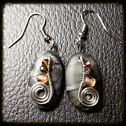 Picasso Marble and Wire Earrings