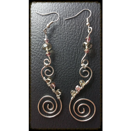 Hammered Wire Swirls w/ Mauve & Smokey Swarovski