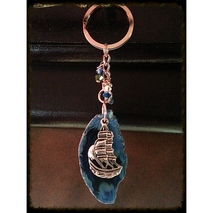 Nautical/Pirate Themed Agate Slice Keychain