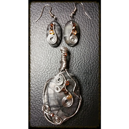 Picasso Stone Wire Wrapped Swirl Set w/ Swarovski