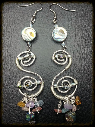 Wire Swirl Earrings w/ Stones, Beads and Pearl