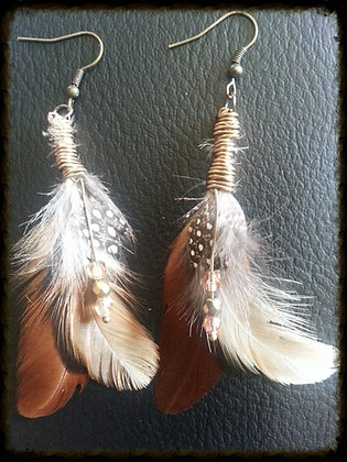 Feather Earrings - Brown/Earthy Wire Wrapped