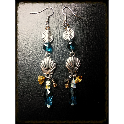 Beach Themed Shell & Swarovski Fish Earrings