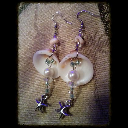 Shell, Pearl, & Starfish Charm Earrings